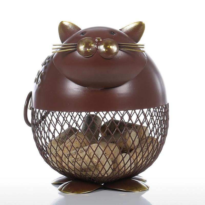 Cute Cat Wine Cork Container Ornament Storage Jar Box Organizer Home Decoration Iron Animal Craft Gift