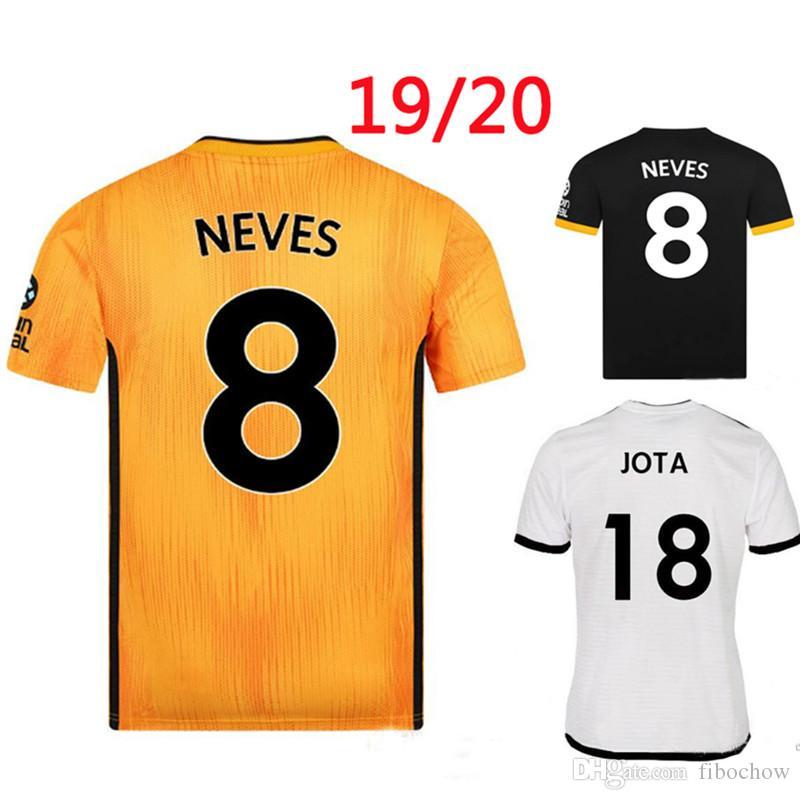 NEVES RAUL DOHERTY kurtlar 2019 2020 futbol formaları ev sarı uzakta üçüncü yetişkin üst thai kaliteli A +++ formalarını