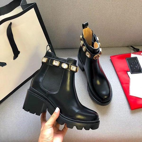 Los zapatos de cuero de alta calidad de la mujer con cordones cinta de la hebilla del cinturón botines directo de fábrica femenino talón áspera cabeza redonda otoño invierno Mar N01