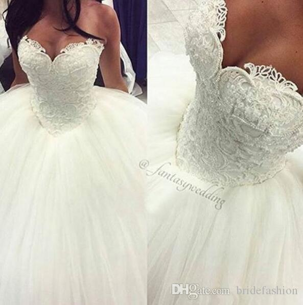 Pearls Ball Gown Wedding Dresses Sexy Sweetheart Sleeveless Lace Applique Beads Tulle Saudi Arabia Bridal Gowns Princess Vestios De Novia