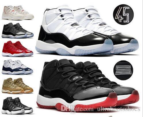 New Bred 11s 11 Chaussures Hommes Femmes Basketball Concord 45 Platinum Tint cerise chapeau et robe Space Jam chaussures de marque Formateurs Sport