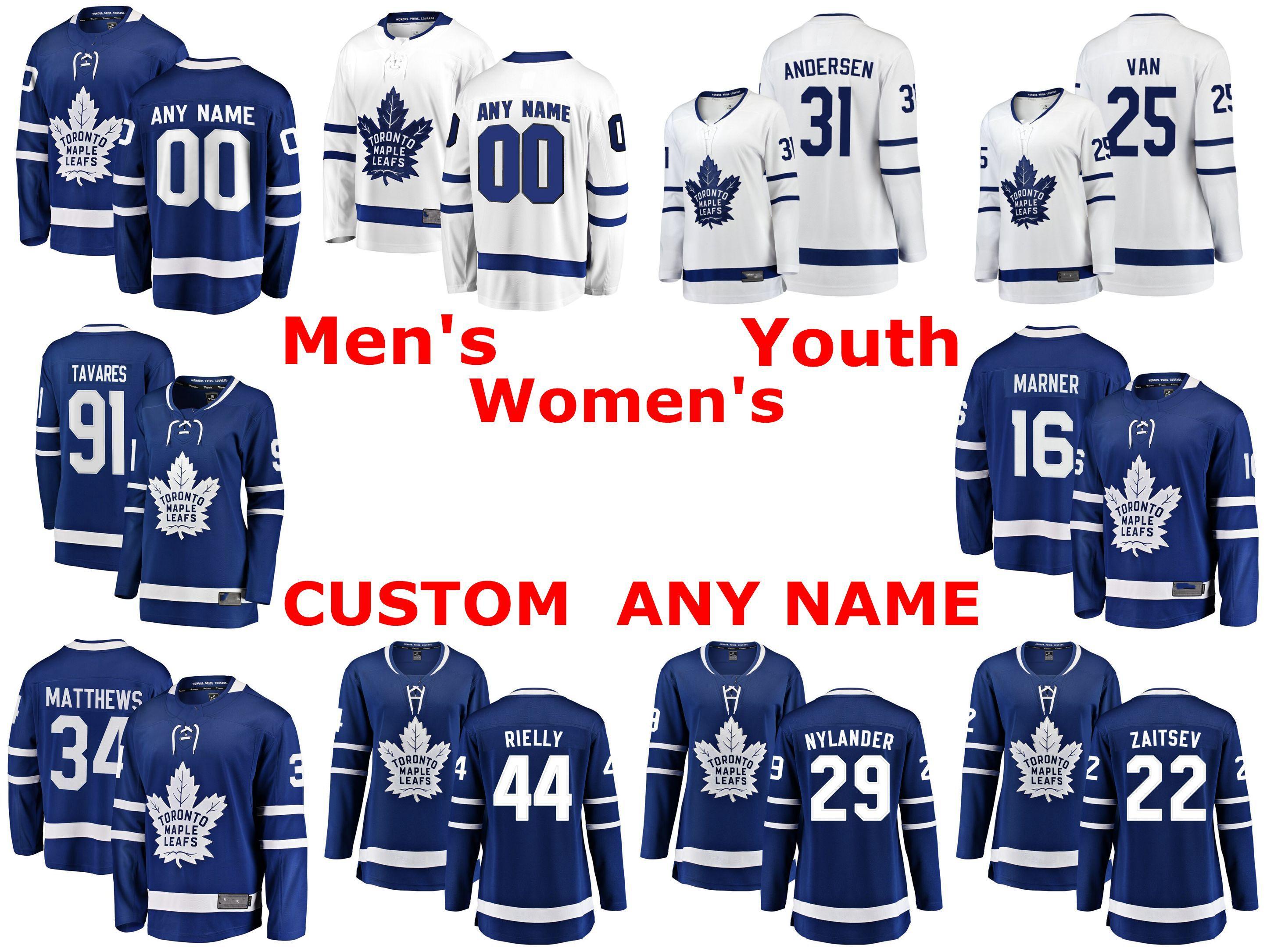 Toronto Maple Leafs Jerseys Frederik Andersen Jersey James van Riemsdyk John Tavares Mitchell Marner Auston Matthews Custom Hockey Jerseys