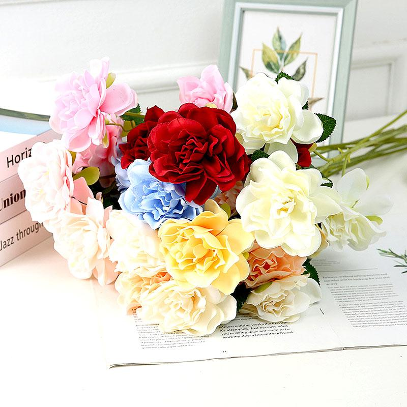 9CM künstliche Rote Blumen Bushes Qualitäts-UV-beständig Fake Flowers Home Decor Kleine Dekorationen für Garten