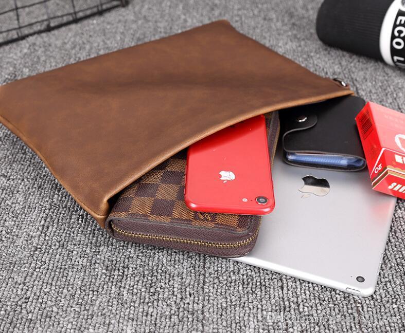 Hommes PU uni brun carré long de grande capacité Zipper Wallet