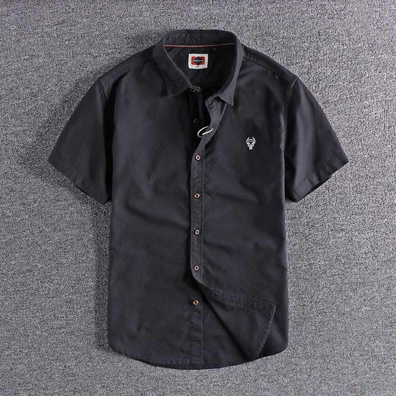 2020 yeni Japon moda basit nakış yüksek kaliteli pamuk Oxford erkek Casual Kısa Gömlek 0116 üst wholesalesale