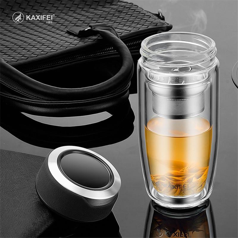 304 paslanmaz çelik demlik Tercihi Çift Katmanlı Cam Suyu Şişesi Çay Meyve çiçek şişe Şeffaf Su Şişeleri