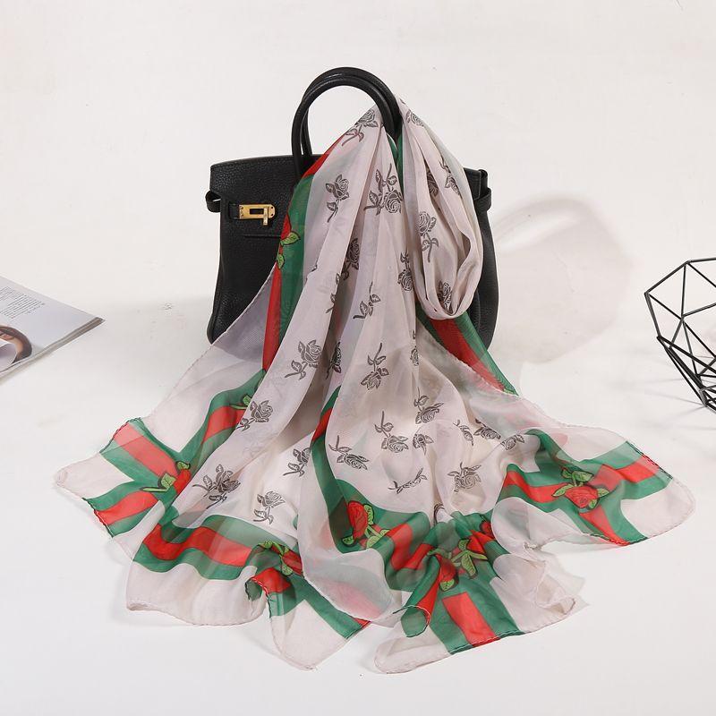 2020 Scarves For Women Summer Fashion Chiffon Silk Scarf One Rose Flower Long Section Lady Scarf Thin Beach Towel Shawls hijab DHL Free