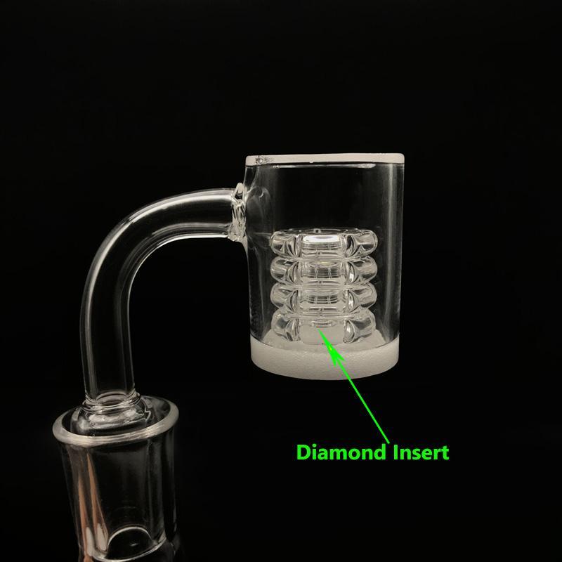 25 OD 4mm fondo opaco smussato quarzo Banger chiodo con inserto al quarzo Maschio femmina quarzo Banger chiodi per il fumo di vetro