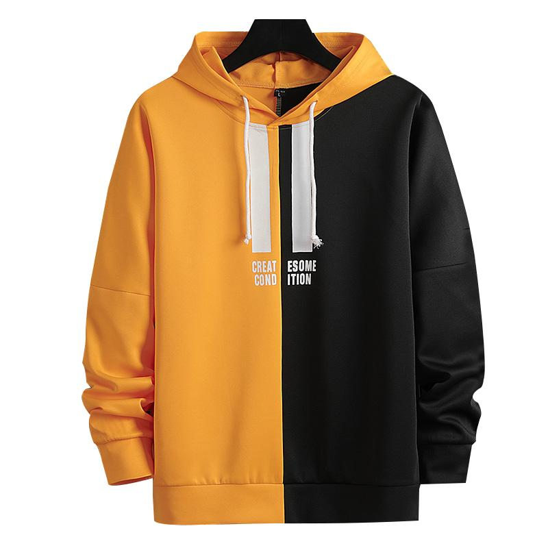 M. J-NONG 2020 nouveau style Hoodies Deux couleur couture multicolore de style de mode de la rue d'impression anglaise Mode pour hommes