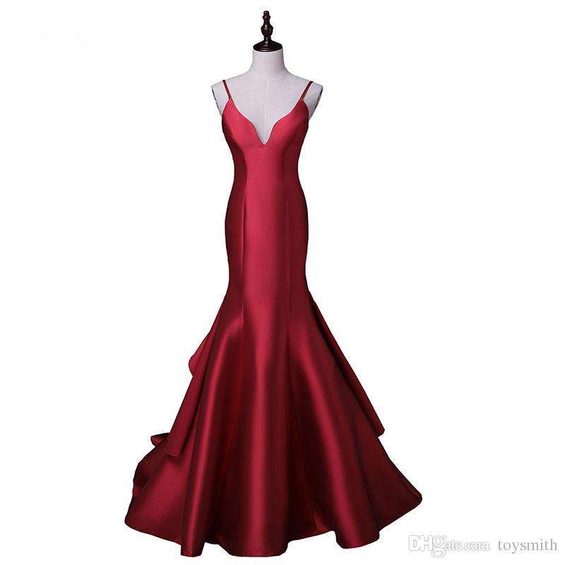 Chegada nova sexy noite vestidos de festa de cetim vestido longo vestido de festa espaguete v-pescoço varredura vestido de trem