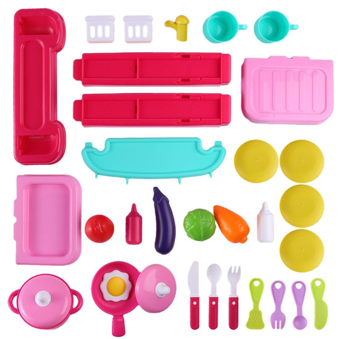 Aracı Pişirme Çocuk Mutfak Bagaj Organizer ile Kid için Rol Yapma Çal Tezgahı Playset Erken Eğitim Oyuncak Setleri