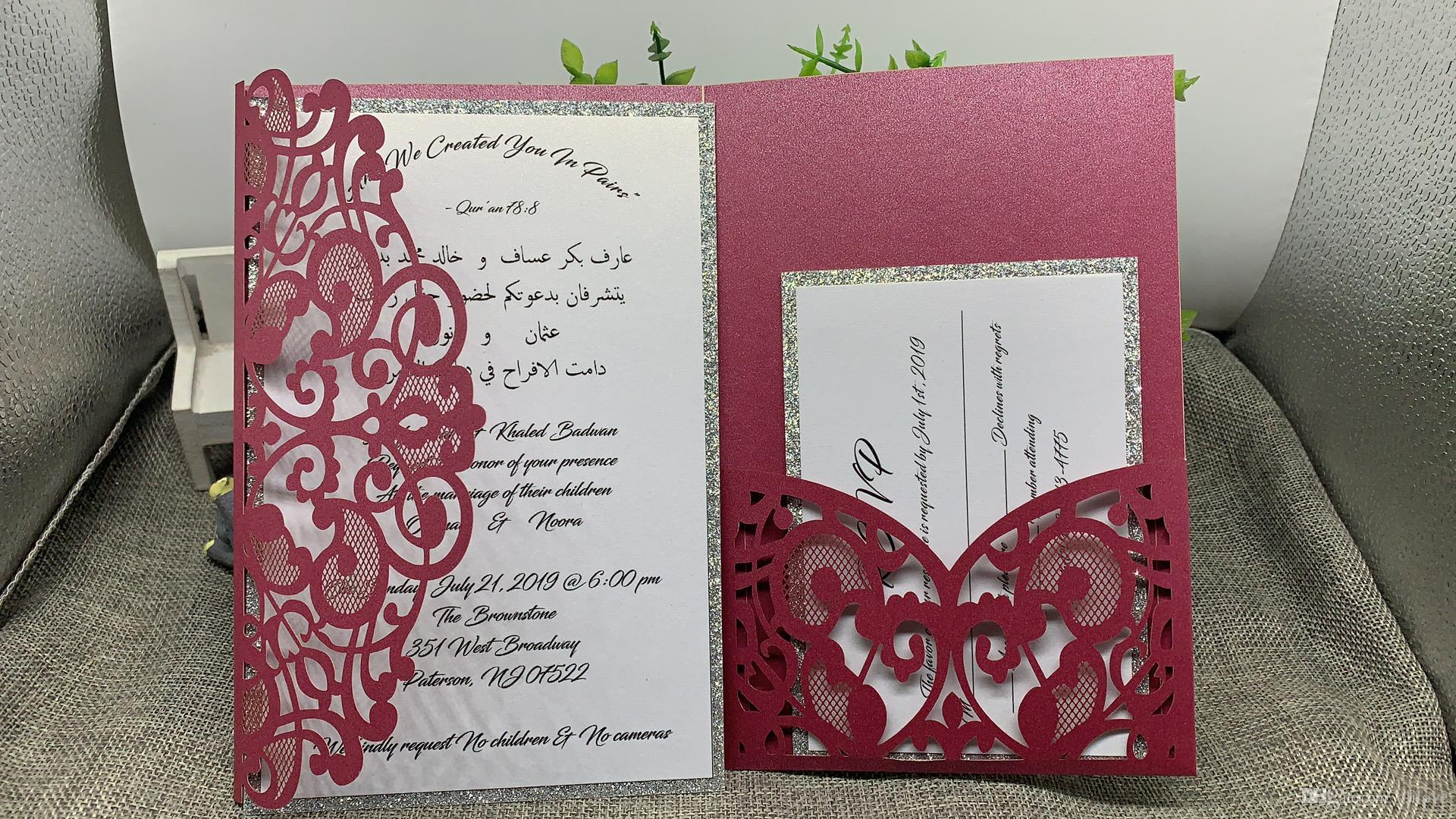 2018 Navy Blue Laser Cut Pocket Wedding Invitation Suites ...