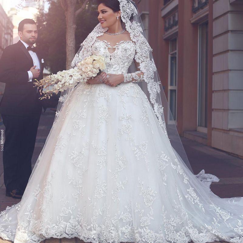 새로운 도착 2019 봄 아랍어 이슬람 웨딩 드레스 깎아 지른 보석 목 비즈 스팽글 레이스 Appliques 환상 긴 소매 브라 가운