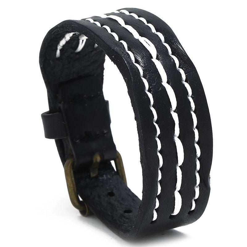 ретро панк черный кожаный регулируемый браслет для мужчин 2020 Простые очаровывает bileklik Bijoux Accesorios пункт Moto браслет jonc подарки