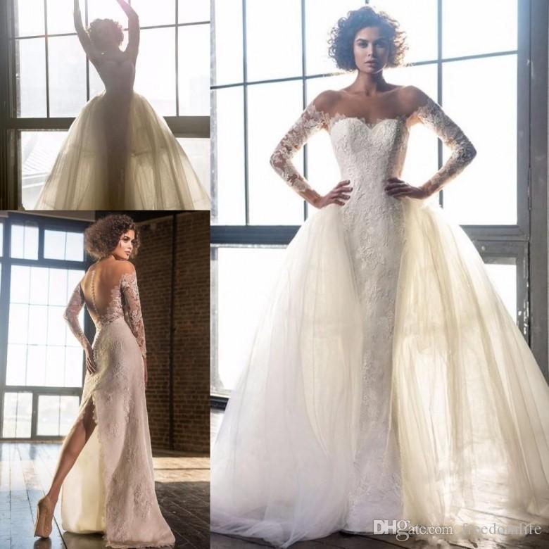Pnina Tornai Split Mermaid Wedding Dresses with Detachable Train Lace Off-shoulder Long Sleeve Arabic Dubai Bridal Gowns