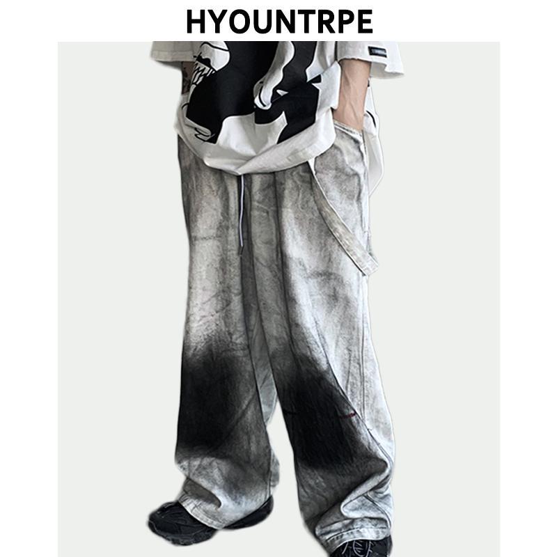 Мужские джинсы мужские винтажные граффити печатные джинсовые брюки эластичные талии свободные прямые брюки хип-хоп уличная одежда повседневная пробежка джинс