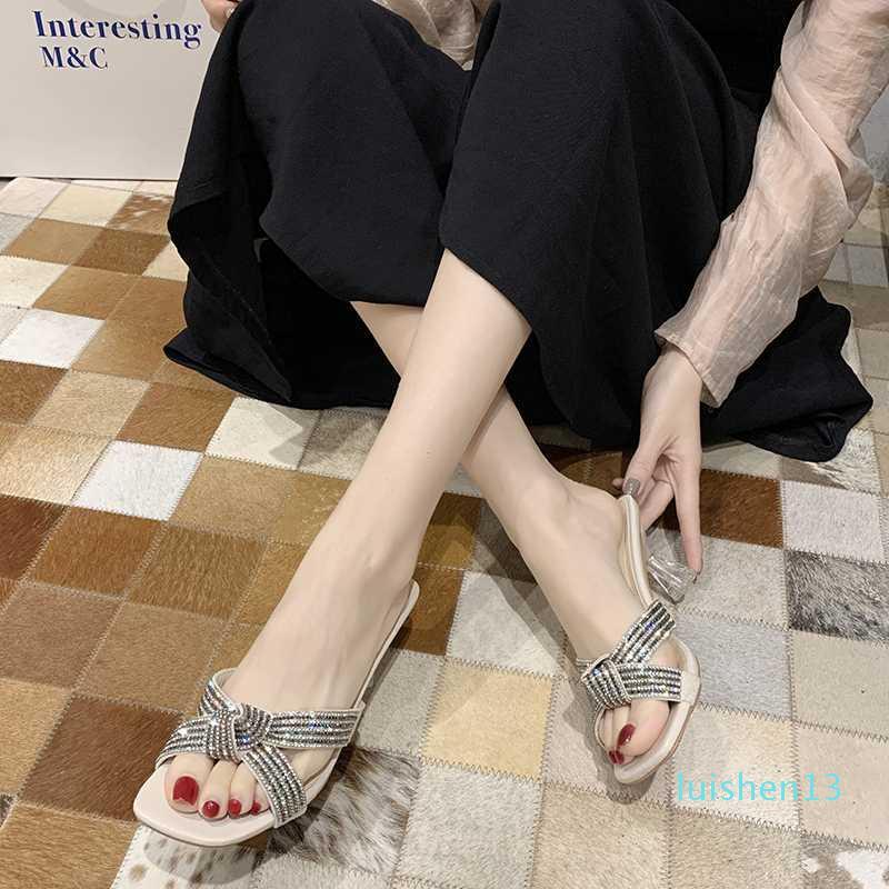 Хрустальный крест ремень туфли на высоком каблуке женские прозрачные сандалии на каблуке летние прозрачные каблуки тапочки женские блестящие каблуки с открытым носком 2020 l13
