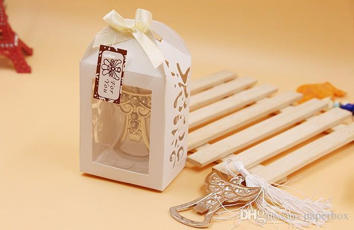 Venta al por mayor Favores de boda Caja de láser Angel Design Abrebotellas