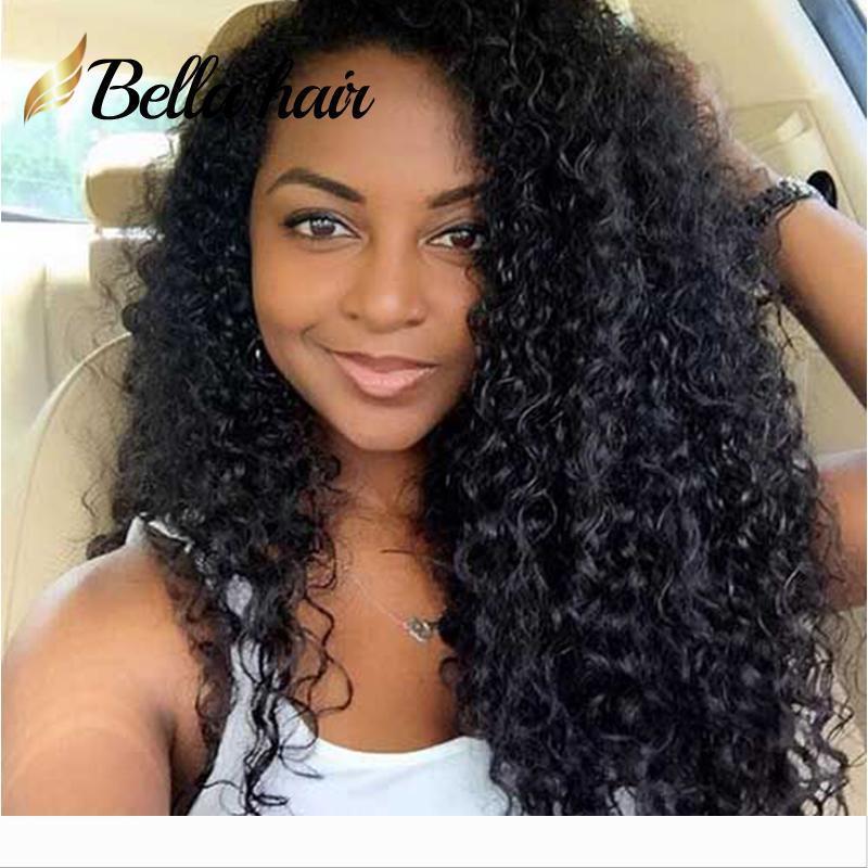 Siyah Kadınlar Orta Cap Dantel Açık Peruk% 130 Yoğunluk Kıvırcık Doğal Renk Bellahair için Perulu Bakire İnsan Saç Peruk
