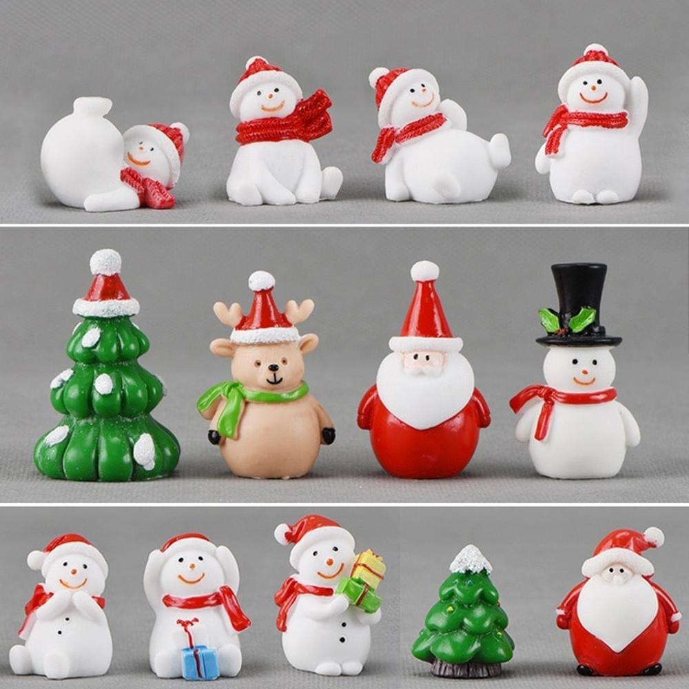 Миниатюрный Рождественская елка Санта-Клаус Снеговики Террариум Украшение подарков Fairy Сад Цифры Декор Главная Таблица Micro Пейзаж