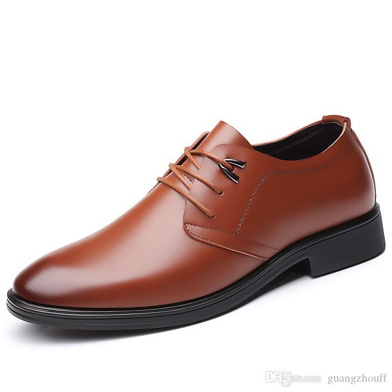 2019 가죽 공식적인 Men Shoes 패션 Men Low 힐 Round 발가락 편안한 Office Dress Shoes