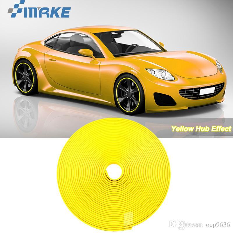 8M Колесо Автомобиля Ступица Обода Края Защитное Кольцо Шины Газа Гвардии Резиновые Наклейки На Автомобилях Желтый Автомобиль Стайлинг