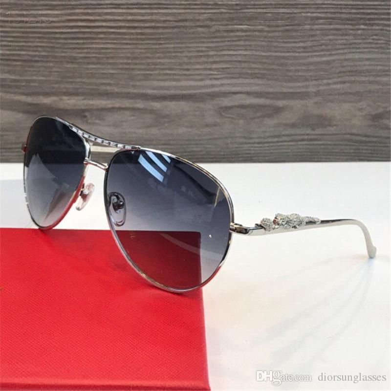 Mujer / Hombres vendimia LENTES DE SOL SIN REBORDES marcos de madera chapada MARCO Santos Gafas de sol en caja CNUM181128-28