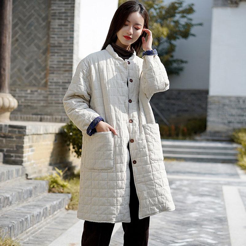 QPFJQD женщины толстые плед парки старинные стенд воротник пальто хлопок белье Женская одежда зима новые карманы кнопка длинные парки пальто