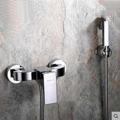 4 개 유형 샤워 노즐 세트 스프레이 비데, 2 개 홀 벽이 내리는 화장실을 장착 장치 정장, 구리 추위와 온수 비데 수도꼭지