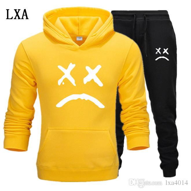 Nuovo Tuta Da Uomo A Due Pezzi Felpe + Pants Autunno / Inverno Lil Peep Felpe Felpe vestito maschile da jogging Tute EL-2