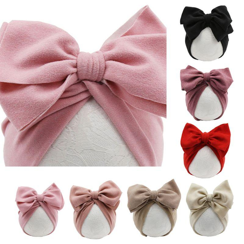 Baby Hat Girls Bows Turban Hats Infant Photography Props Cotton Kids Beanie Baby Cap Accessories Children Hats