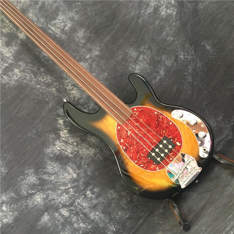 새로운 도착은 중국 판매 빈티지 햇살에 4 개 문자열 전기베이스 기타를 플렛리스 (fretless)