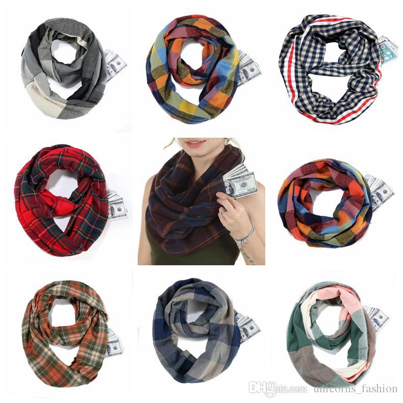 Scarf Zipper Creative Pocket Infinity Winter Warm Scarf Soft Outdoor Men Travel Journey Ring Scaves Fringed Cashmere Pashmina Wraps CNY1786
