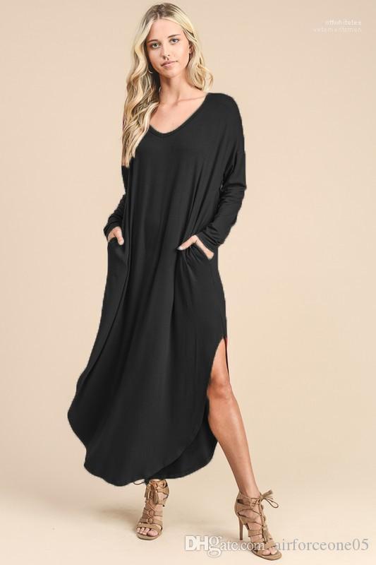 Robes Boho Vêtements Automne Casual 19SS femmes V-cou Robe solide Printemps Nouveau Manches longues