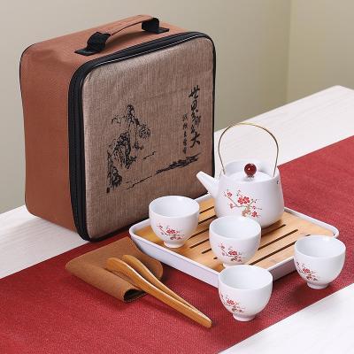 2020 fashion 1set Dehua Ceramic Plum blossom Gift Box Kung Fu Tea Set teapot gift set Travel Set