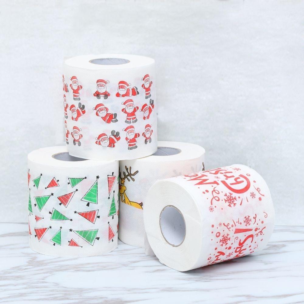 De navidad de papel de baño Impreso Inicio Santa Claus baño de papel higiénico de papel Christma Suministros de Navidad decoración de tejidos de 170 hojas de papel higiénico