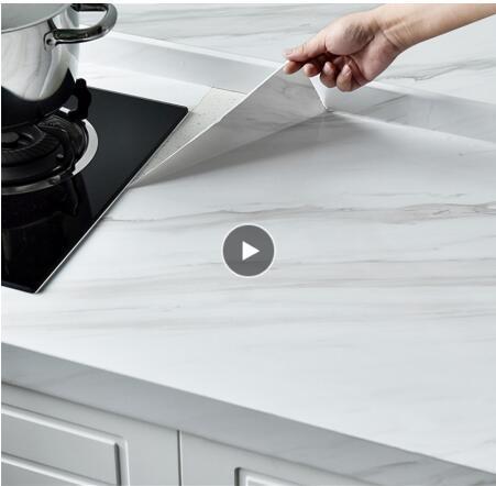 Mármol película del vinilo auto-adhesivo del papel pintado impermeable para baño armario de la cocina Superficies de contacto de papel pegatinas de pared de PVC