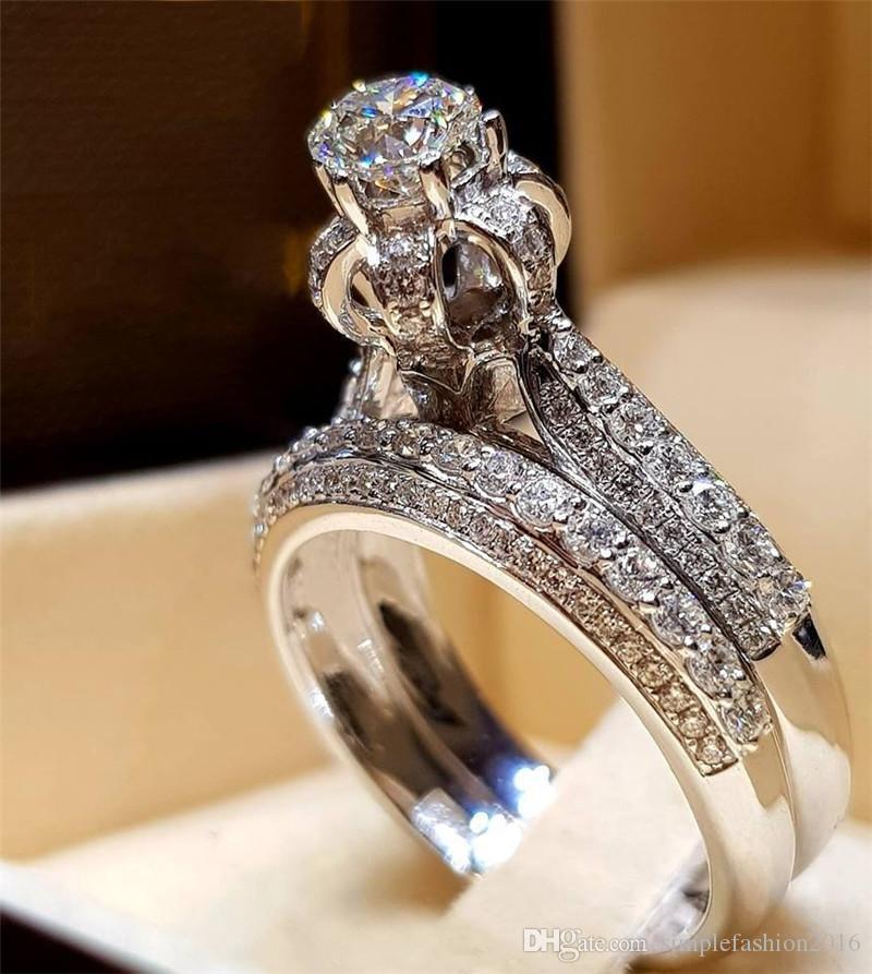 El yapımı Mahkemesi Promise Ring setleri 925 Ayar gümüş Elmas Nişan düğün band yüzük kadın erkek sevgililer Günü Hediyesi için