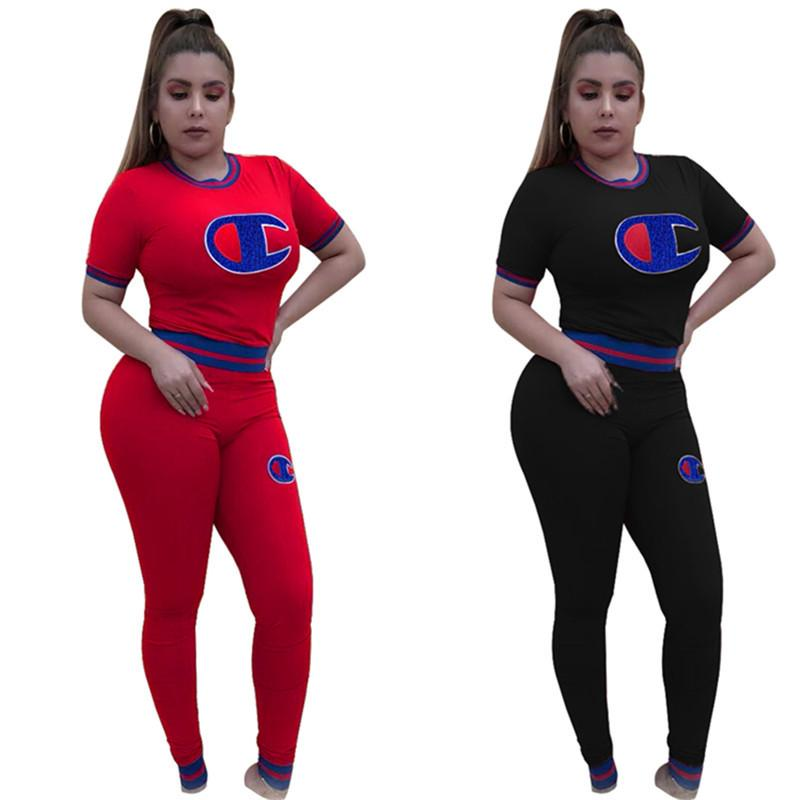 Brand Champion Tracksuit Женщины вышивки Письмо Printed Thread короткий рукав футболки Топы + штаны Legging двухкусочный Установить Повседневный костюм Подарок Top