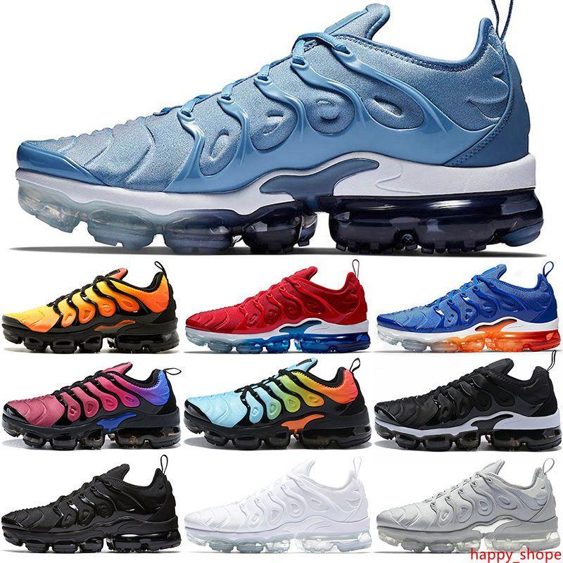 Artı TN Ayakkabı Erkekler Kadınlar Erkek Sneakers Üçlü Siyah Beyaz Sunset Çalışma Mavi Spor Antrenörü Spor Sneaker Boyut 36-45 Koşu