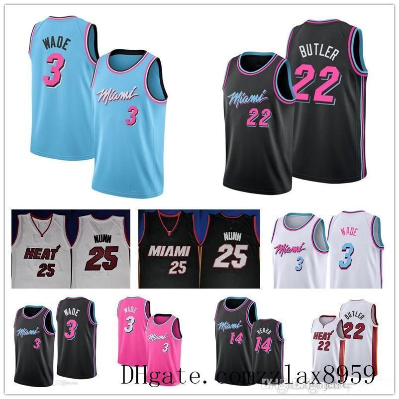Miami degli uomini poco costosinbaHeate Dwayne Wade 3 Jersey Tyler 14 Herro cucita Jimmy Butler 22 di basket maglie tabella Dimensione Uomo