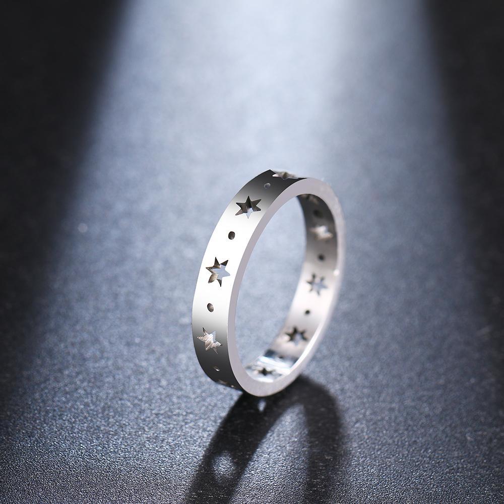 Für Frauen-Ring-Hohlpenta Edelstahl Gold-und Farben-Geschenk R341
