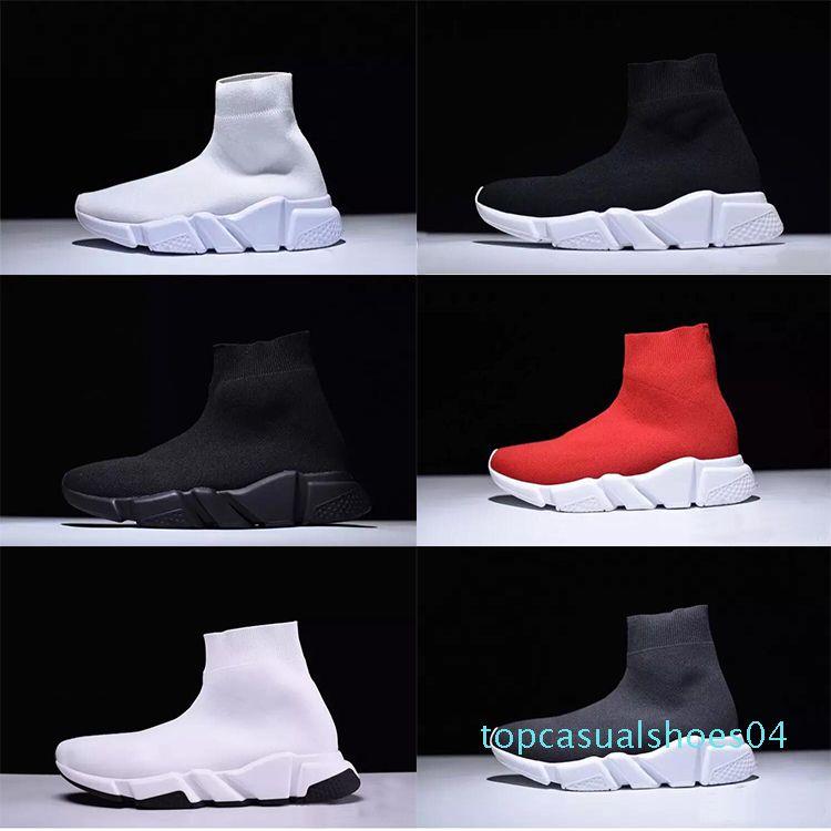 2020 Paris Designer Sock Scarpe Speed Trainer Stretch Knit media Nero Bianco marchio di moda Top traspirante, scarpe Casual per gli uomini le donne 46 T04