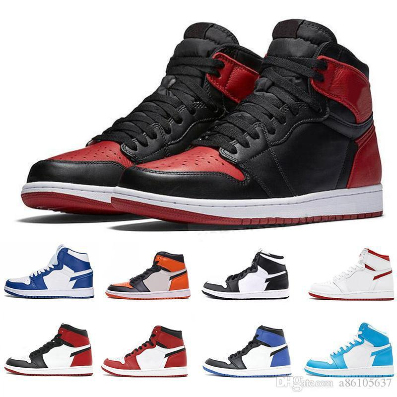 2019 New 1 High OG Bred Toe Banned Game Royal Outdoor Basketball Shoes Men 1s Shattered Backboard Shadow Sneakers High Quality size 13