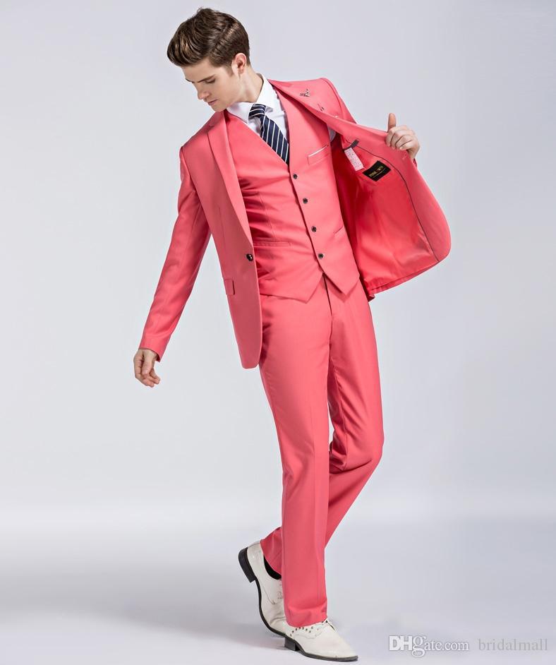 Nova 2020 Casaco Vermelho Melancia Ternos de casamento do noivo smoking xaile lapela Groomsmen Homem Jacket Blazer 3pieces Prom Party Terno (camisa + calça + Vest)