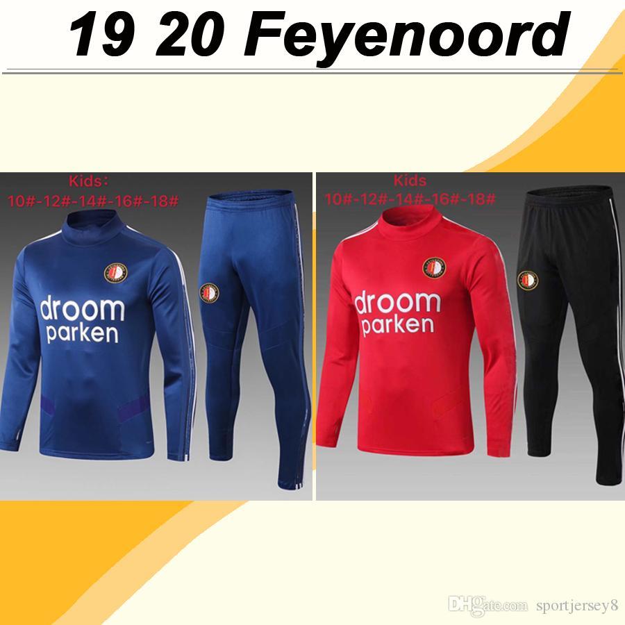 19 20 Feyenoord Kids Tracksuit Soccer Jerseys V. Persie Toornstra Vilhena Clasie Larsson Berghuis Red Blue Blue Football Kit de camisetas