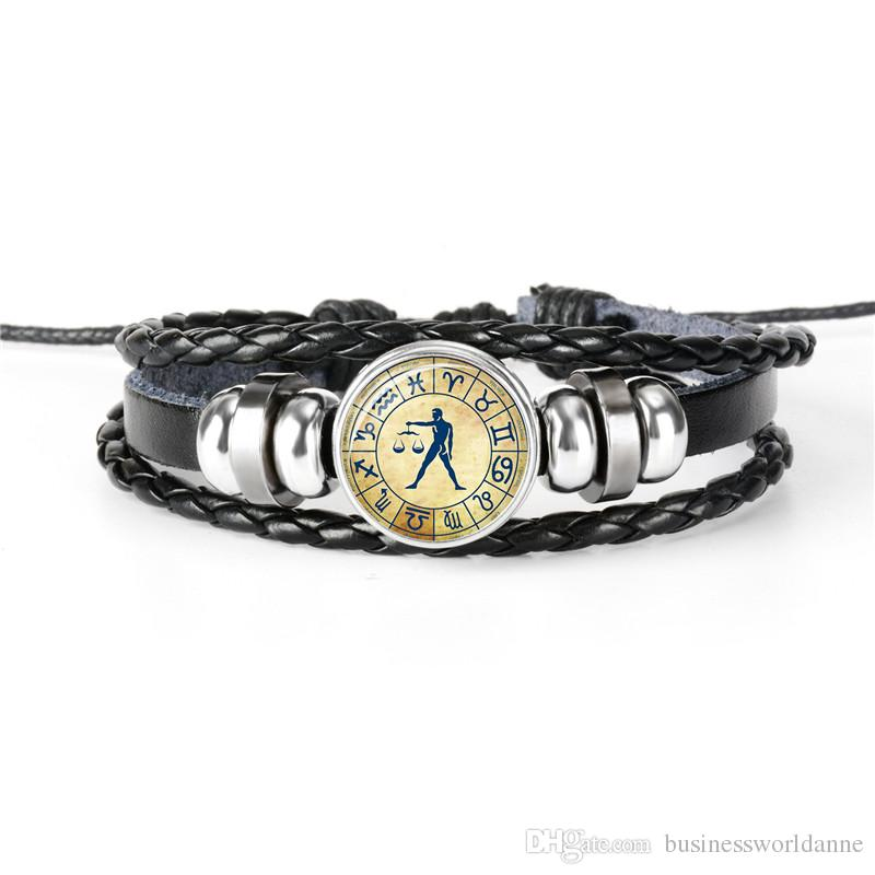 New Multilayer Braided Leather Rope Beaded Cuff Bracelet Men Women 12 Constellations Zodiac Libra Time Gem Glass Cabochon Charm Jewelry Gift