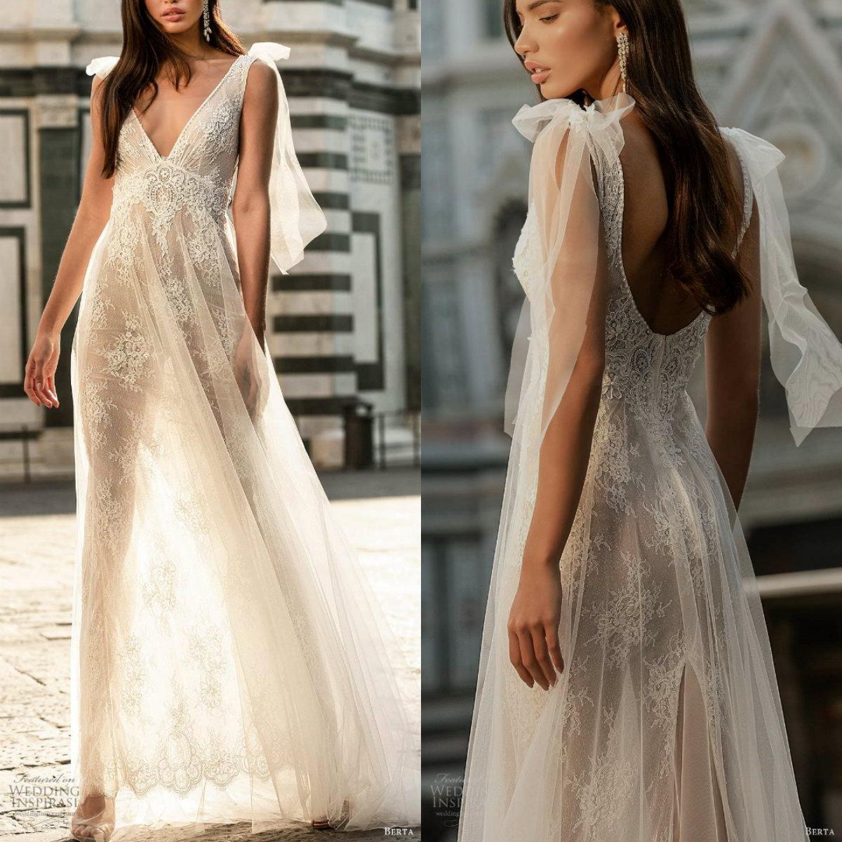2020 فساتين الزفاف بيرتا شير V الرقبة مطرز Sleevelesss ثوب الزفاف عارية الذراعين الكشكشة الطابق طول الوهم الجلباب دي Mariée