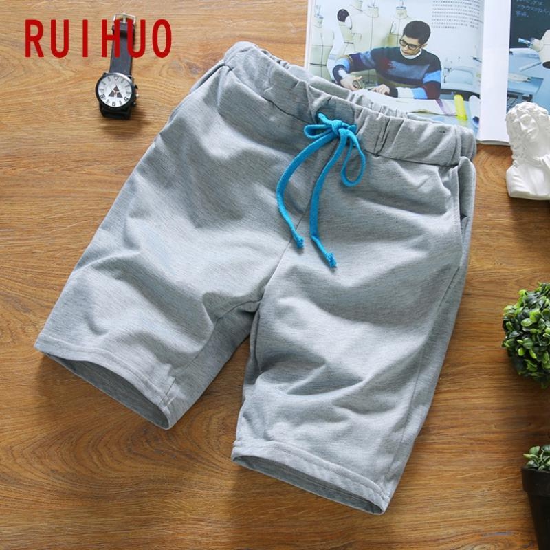 RUIHUO 2020 New Casual Shorts Men Verão Masculino de Fitness Men Shorts Masculino joelho Sólidos Moda Duração Corredores Plus Size M-5XL