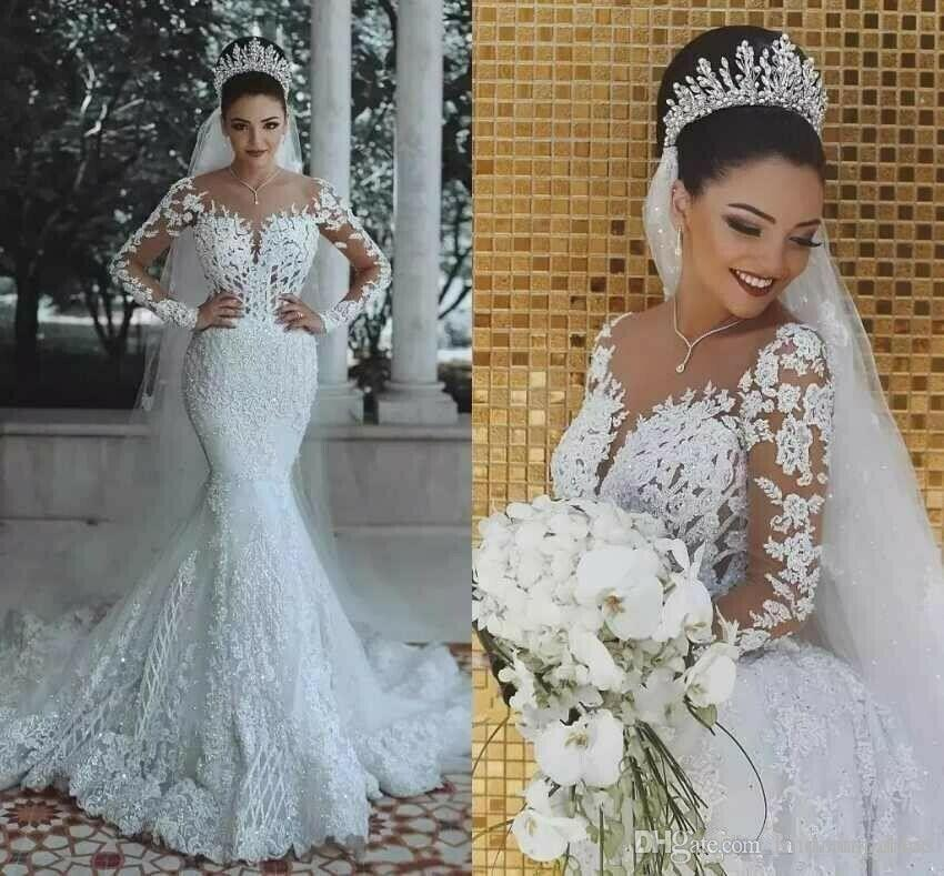 Modern New 2019 Romantic Gorgeous Long Sleeve Mermaid Wedding Dresses Beading Lace Princess Bridal Gown Custom Made Appliques See Through